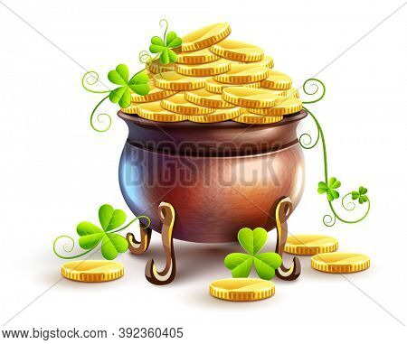 Pot with gold coins for Saint Patricks Day Holiday. Hidden treasures from Irish traditions. Green leaves of clover plant. isolated on white transparent background. 3D illustration.