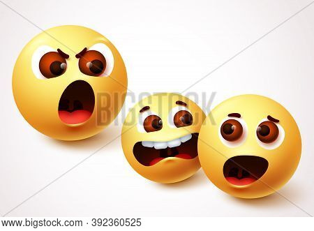 Emoji Angry Boss Vector Character Design. Emoji Of Parent Shouting And Child Arguments. Vector Illus