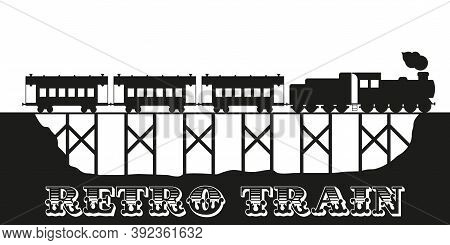 Old Vintage Retro Train On The Wooden Viaduct. Tourist Train Vector Illustration.