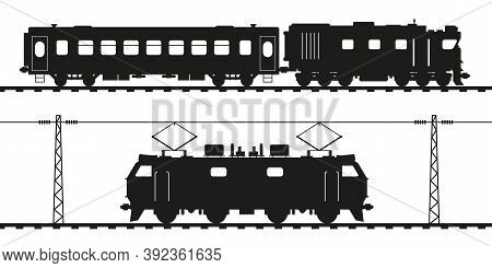 Diesel Locomotive, Passenger Carriage And Electric Locomotive. Detailed Vector Silhouette.
