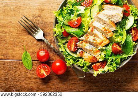 Fresh And Healthy Salad. Vegetarian Vegetable Salad For Vitamins. Healthy Salad Is Balanced Diet Foo