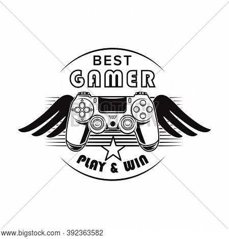 Retro Gamepad With Wings Vector Illustration. Monochrome Controller For Playing Game. Videogame And