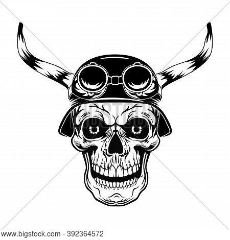 Black Skull In Helmet With Horns Vector Illustration. Vintage Dead Head In Helmet With Glasses. Tatt