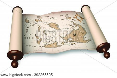 Ancient Scroll With Pirate Map In Cartoon Style. Children Games, Treasure Hunt. Old Map With Treasur