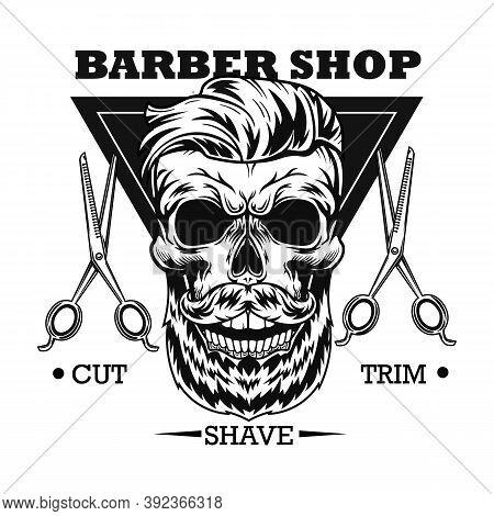 Barbershop Advertising Vector Illustration. Skull With Stylish Beard And Haircut, Scissors, Text Sam