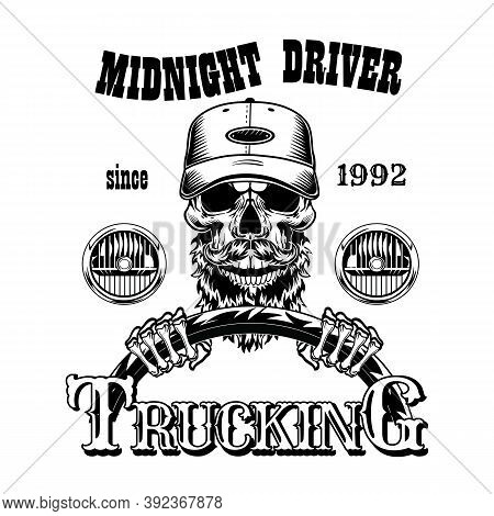 Vintage Skull Of Midnight Driver Vector Illustration. Monochrome Dead Head Of Bearded Man. Shipment