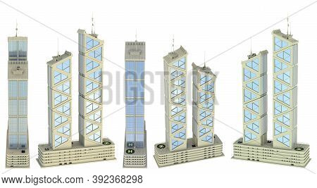 5 High View Renders Of Fictional Design Corporate Buildings Of Two Crystal Towers With Sky Reflectio