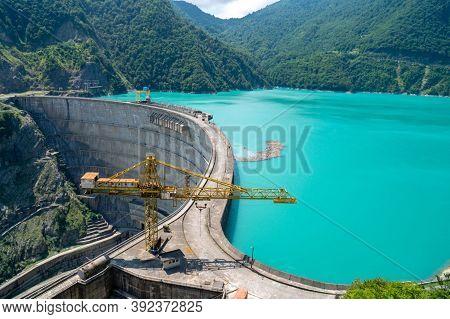 Hydroelectric Power Plant On Dam. Renewable Energy Source, Hydroelectric Power Station, Hydroelectri