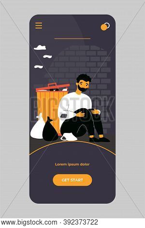 Homeless Poor Man Sitting At Street Near Box Isolated Flat Vector Illustration. Cartoon Desperate, D
