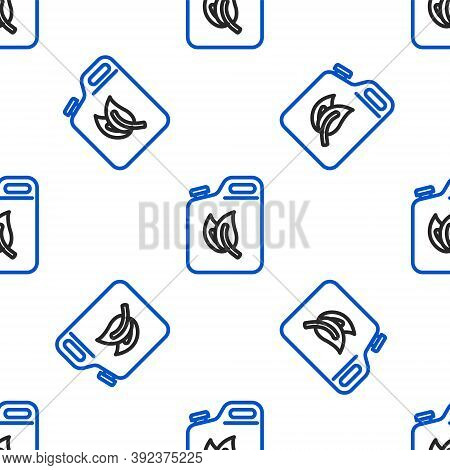 Line Bio Fuel Canister Icon Isolated Seamless Pattern On White Background. Eco Bio And Barrel. Green