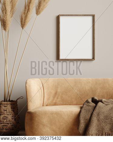 Mock Up Frame In Home Interior Background, Beige Room With Minimal Decor, 3d Illustration