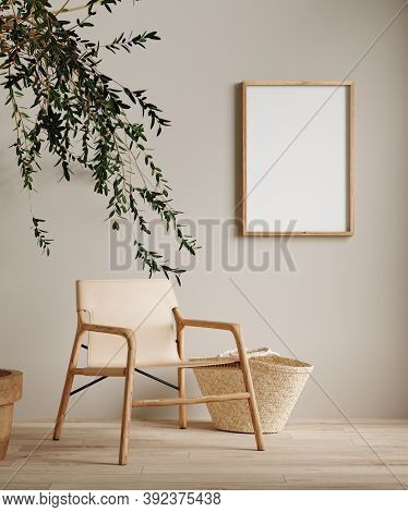 Mock Up Frame In Home Interior Background, Beige Room With Minimal Decor, 3d Illustration