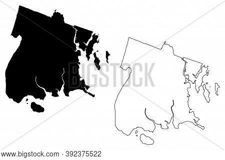 Bronx County, New York State (u.s. County, United States Of America, Usa, U.s., Us) Map Vector Illus