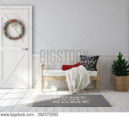 Scandinavian Farmhouse Hallway Interior With Christmas Decoration, Wall Mockup, 3d Illustration