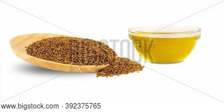 Linseed Oil And Flax Seeds Isolated On White Background