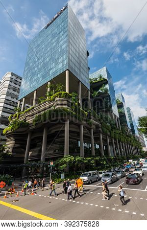Singapore - December 4, 2019: View Of The Green Nature Facade Of The Parkroyal Hotel Building On Pic