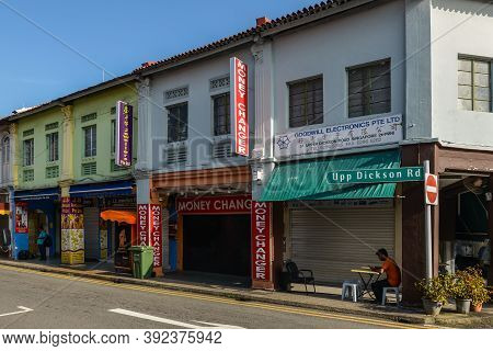 Singapore - December 4, 2019: Street View Of Little India At Sunny Day With Tourist Shops In Little