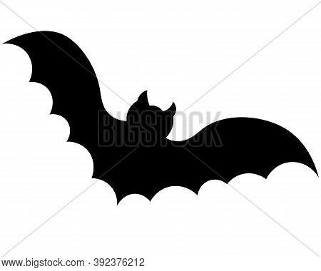Bat. Vampire Animal. Silhouette. Vector Illustration. Halloween Symbol. Isolated White Background. C