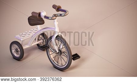 Vintage Tricycle Standing On Purple Background. 3d Illustration.