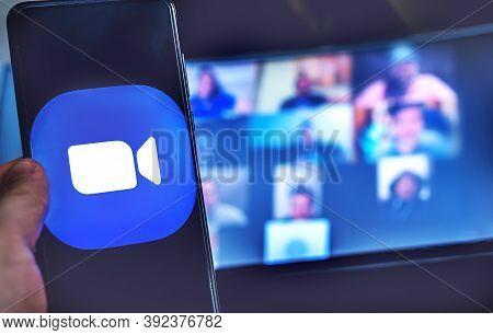 Using Videoconference App Zoom Meeting On Smartphone