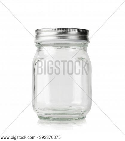 Empty Mason Jar With Silver Cap Isolated On White Background