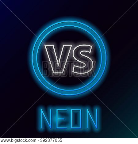 Glowing Neon Line Vs Versus Battle Icon Isolated On Black Background. Competition Vs Match Game, Mar