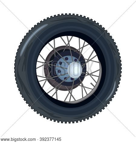 Tire Isolated On White Background. Retro Car Wheel. Black Rubber Tire With Rim. Nice Old Retro Wheel