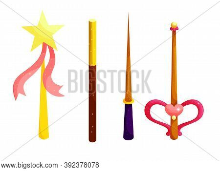 Magic Wands Cartoon Flat Vector Illustrations Set. Fantasy Stick With Yellow Star And Pink Ribbon Is