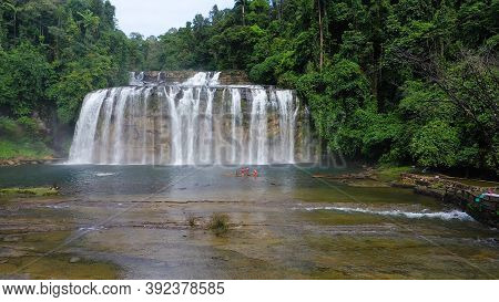 Aerial View Of Tinuy-an Falls Waterfalls In A Mountain Gorge In The Tropical Jungle, Philippines, Mi