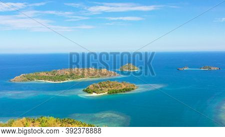 Aerial View Of Seascape With Beautiful Beach And Tropical Islands. Sallangan Islands, Simoadang Isla