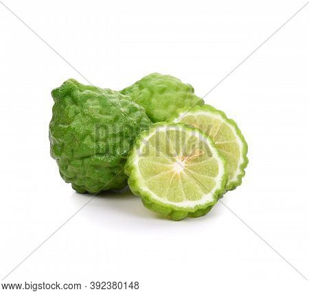 Bergamot Fruit With Cut In Half Isolated On White Background