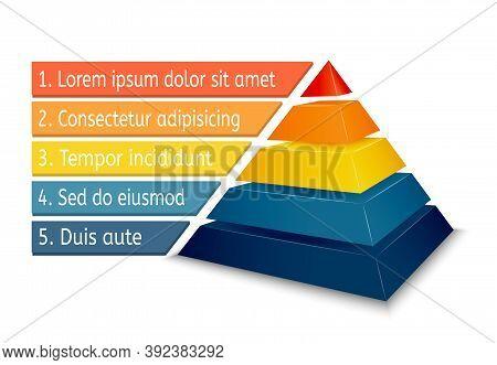 Pyramid Chart For Infographics Presentation Vector Illustration