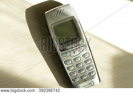 Moscow, Russia - 1 September 2020: Old Vintage Sony Phone Top View, Retro Cellphone Illustrative Edi
