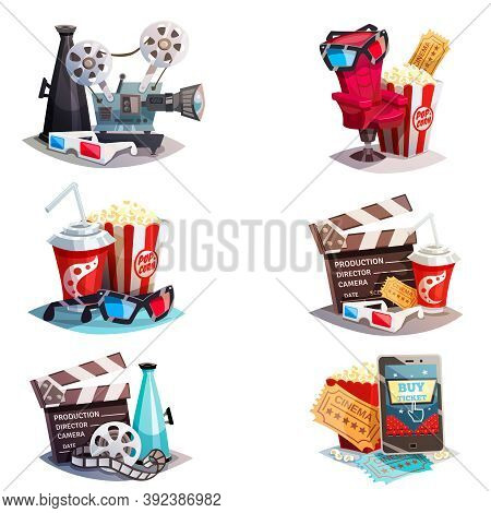 Set Of 3d Cartoon Cinema Design Concepts With Elements Of Cinematography Equipment And Viewers Acces