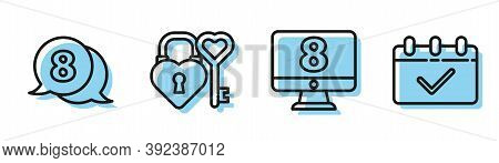 Set Line 8 March On Monitore, 8 March In Speech Bubble, Castle And Key In Heart Shape And Calendar W