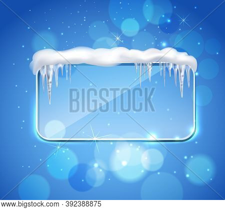 Rectangular Glass Pane Frame With Rounded Corners And Icicles On Top Realistic Image Blue Bubbles Ba