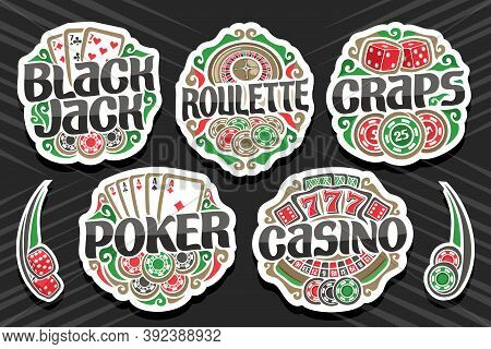 Vector Set Of Gambling Logos, 7 Isolated Badges With Illustration Of Gamble Symbols, Collection Of D