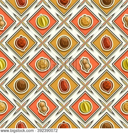 Vector Fruit Seamless Pattern, Square Repeating Fruit Background, Isolated Illustrations Of Summer F