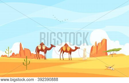 Desert Camel Composition With Wasteland Landscape And Flat Images With Train Of Camels Crossing Dese