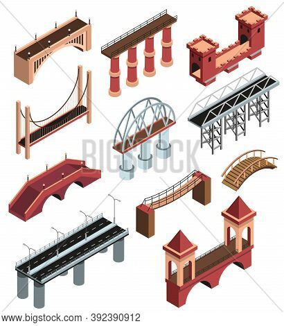 Bridges Details Isometric Elements Collection With Modern Metallic Constructions Ancient Wooden Ston