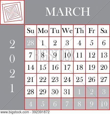 Square Format 2021 Calendar March Gray White Background Designer Cut