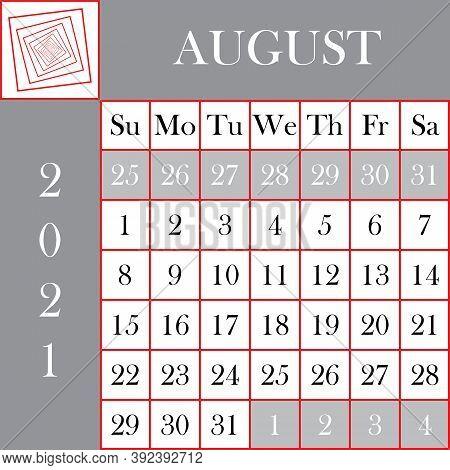 Square Format 2021 Calendar August Gray White Background Designer Cut