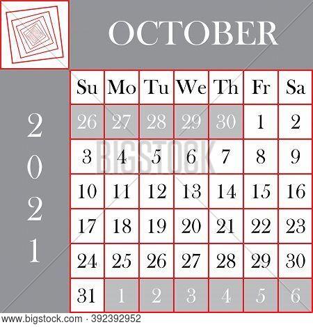 Square Format 2021 Calendar October Gray White Background Designer Cut