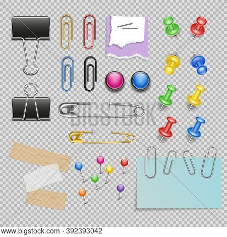 Office Accessories Set With Pins And Staples Note Paper And Clips Scotch And Magnets Isolated Vector