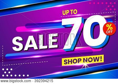 Vector Graphic Of Abstract 70 Sale Percent Banner Light Effect Background. Perfect For Retail, Broch