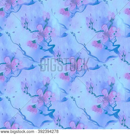 Blossom Cherry Art. Seamless Rose Pattern. Pink Chinese Flower Repeat. Artisctic Spring Background.