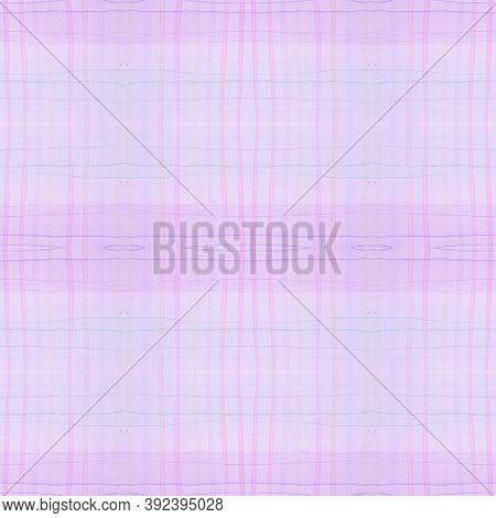Purple Pajama Pattern. Retro Seamless Picnic Blanket. Watercolor Squares For Shirt Design. Kids Whit