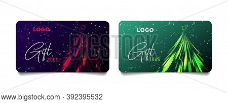Set Of Promo Gift Cards Vouchers With Stylized Christmas Tree Made Of Sparkling Lights In Two Varian