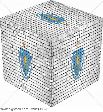 Massachusetts Cube In Made Of Bricks - Illustration,  Three Dimensional Flag Of Massachusetts