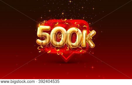 Thank You Followers Peoples, 500k Online Social Group, Happy Banner Celebrate, Vector